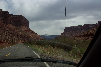 Driving into Moab