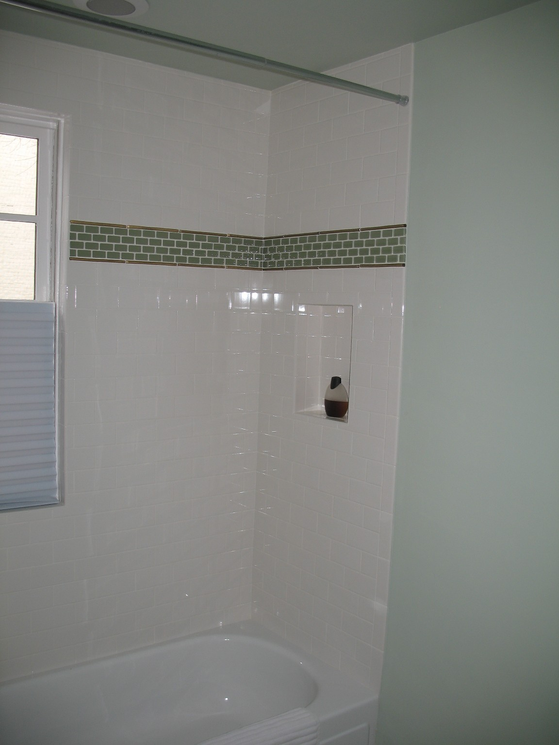 White Subway Tile With Glass Tile Decorative Band For Master Shower Remodel Ideas Pinterest